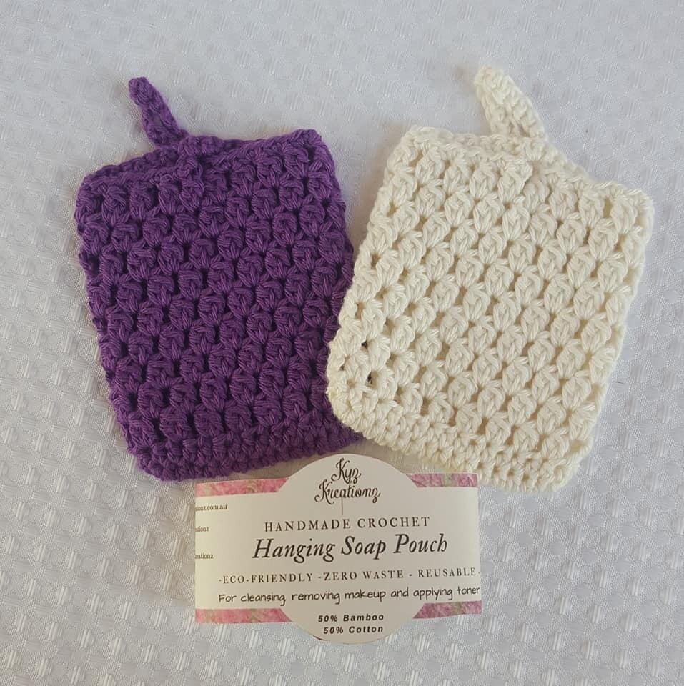 Made to Order   Crochet Hanging Soap Pouch (pack of 2) - Boysenberry Cream