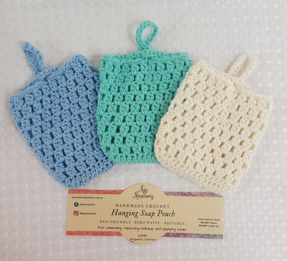 Made to Order | Crochet Soap Pouch (pack of 3) - Ocean Air