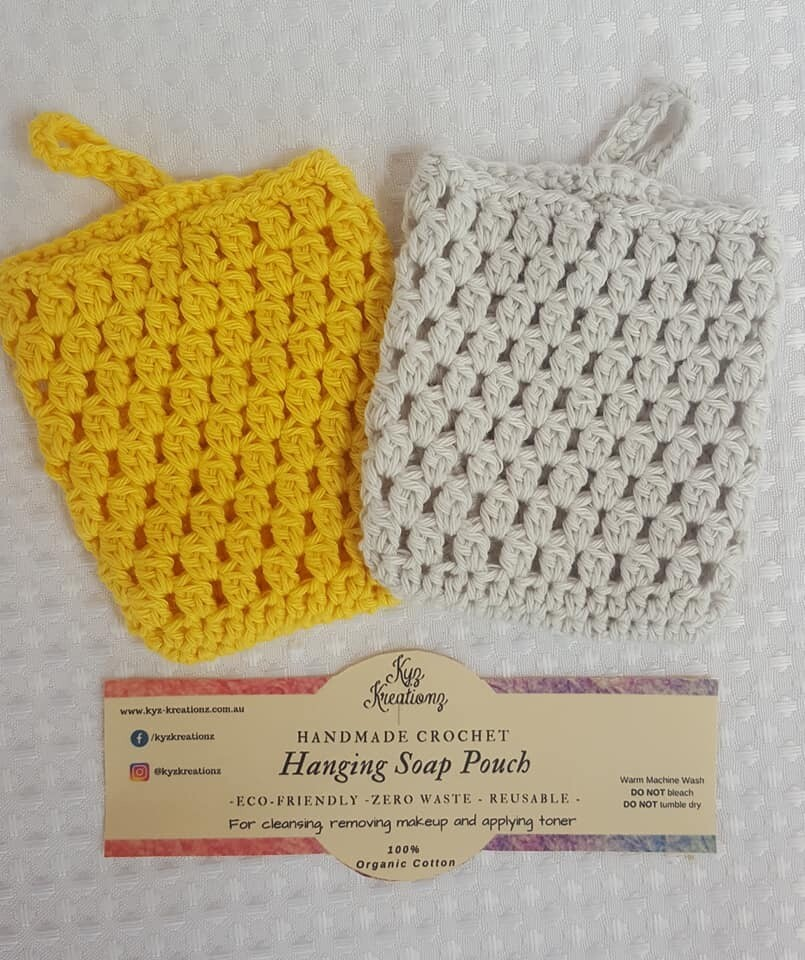 Made to Order   Crochet Soap Pouch (pack of 2) - Gentle Primrose & Soft Cloud