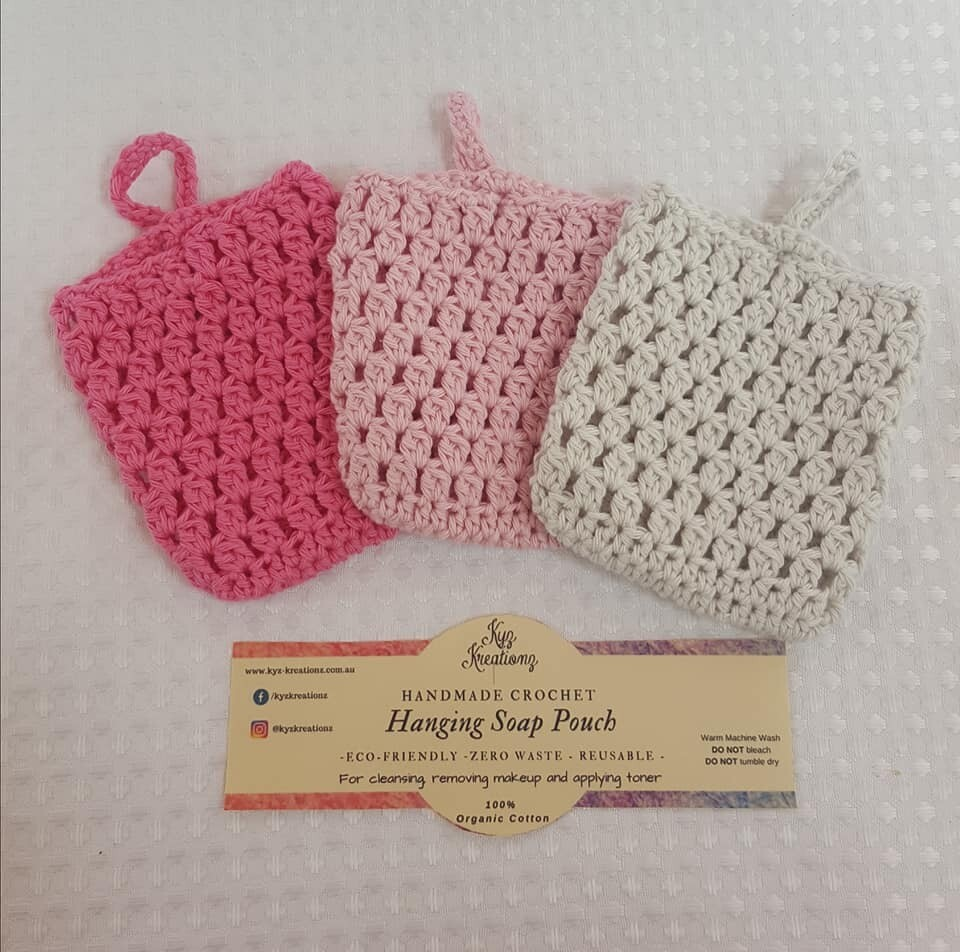 Made to Order | Crochet Soap Pouch (pack of 3) - Strawberry Twist