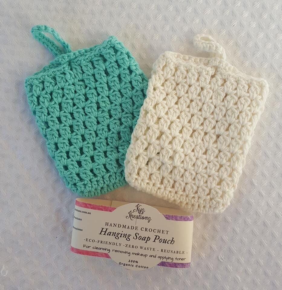Made to Order | Crochet Soap Pouch (pack of 2) - Bright Ocean & Broken Almond