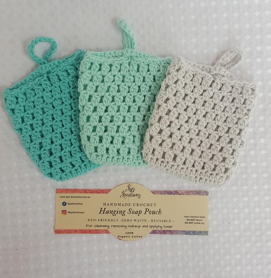 Made to Order   Crochet Soap Pouch (pack of 3) - Peppermint Twist