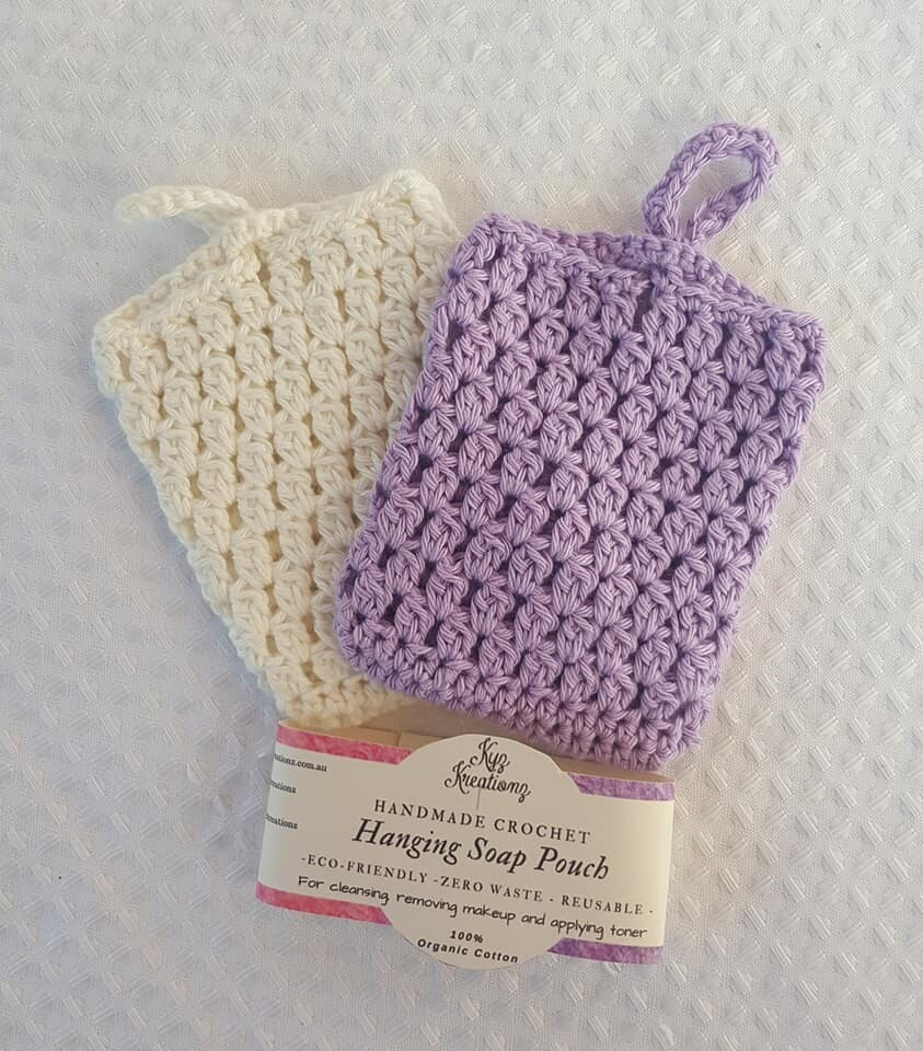 Made to Order   Crochet Soap Pouch (pack of 2) - Lavender & Broken Almond
