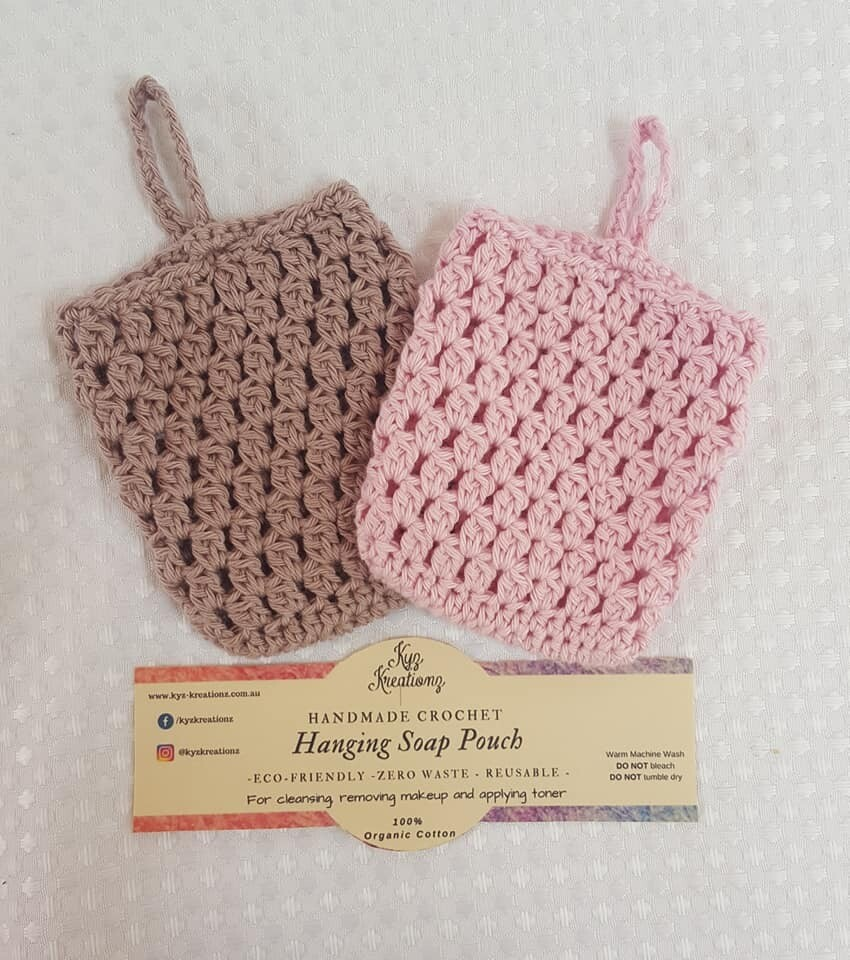 Made to Order   Crochet Soap Pouch (pack of 2) - Ashen Mink & Soft Blossom