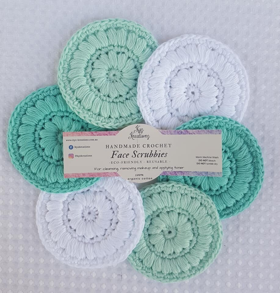 Made to Order | Crochet Face Scrubbies (pack of 6) - Peppermint Ice