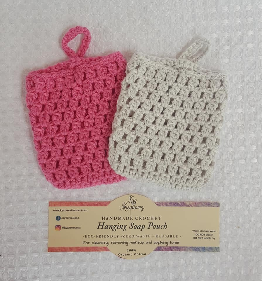 Made to Order   Crochet Soap Pouch (pack of 2) - Apple Blossom & Soft Cloud