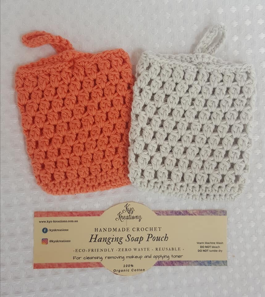 Made to Order   Crochet Soap Pouch (pack of 2) - Desert Bloom & Soft Cloud