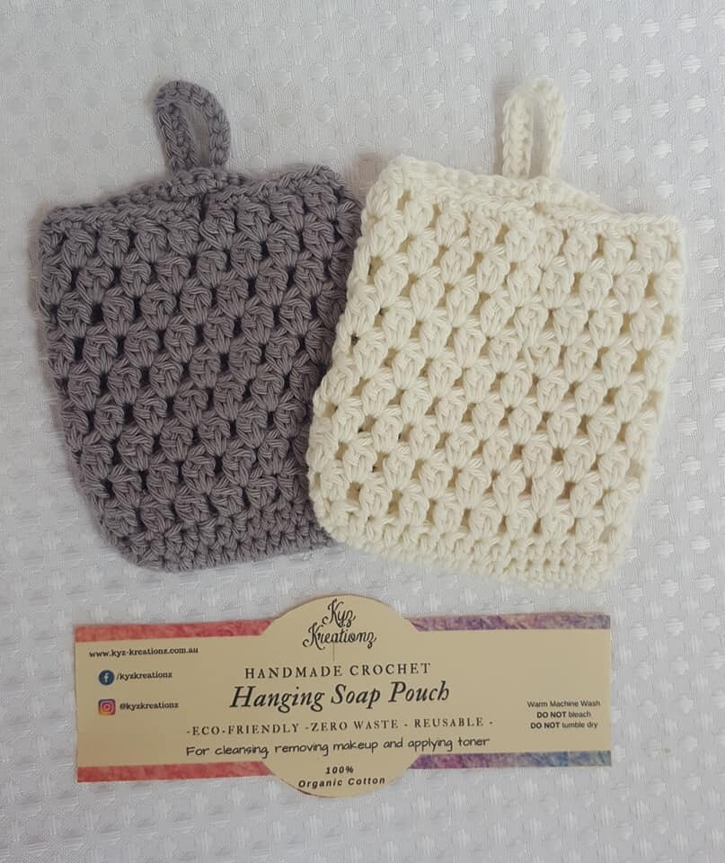 Made to Order | Crochet Soap Pouch (pack of 2) - Frosted Silver & Broken Almond