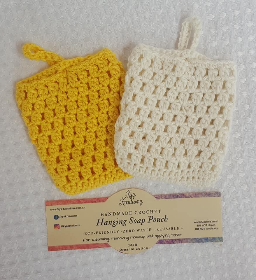 Made to Order   Crochet Soap Pouch (pack of 2) - Gentle Primrose & Broken Almond