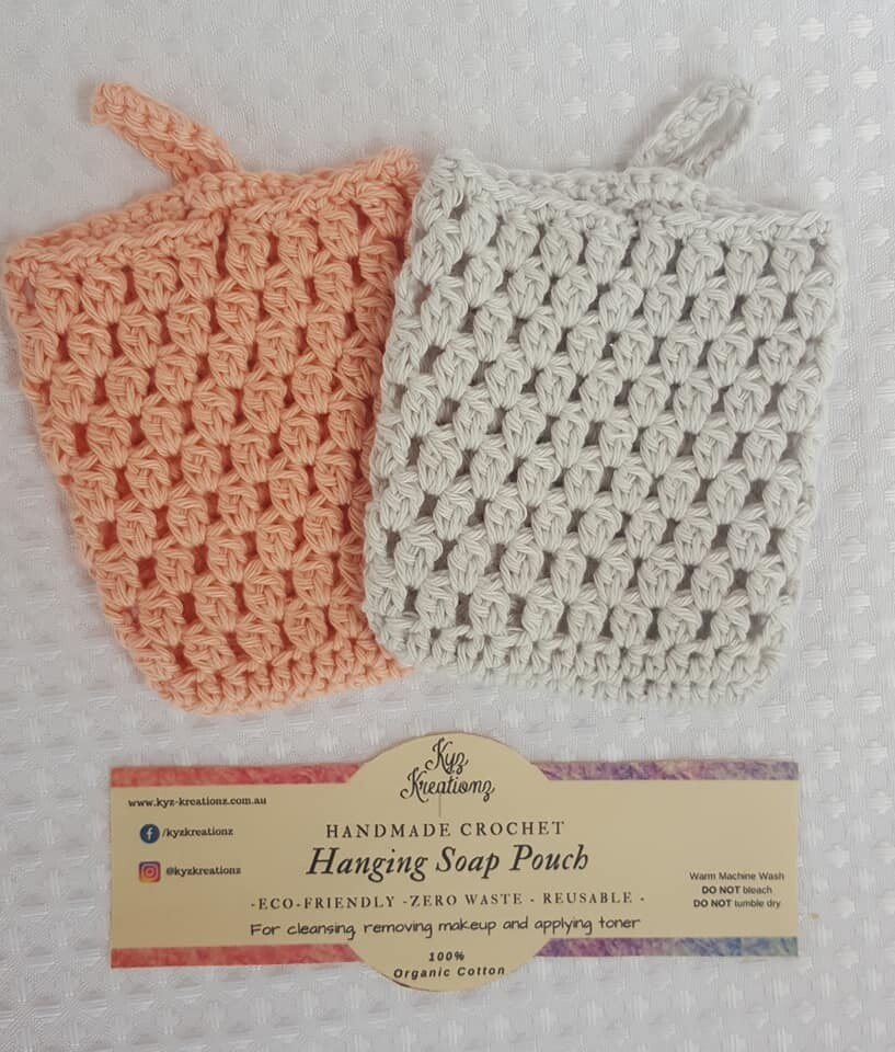 Made to Order   Crochet Soap Pouch (pack of 2) - Peach Fuzz & Soft Cloud