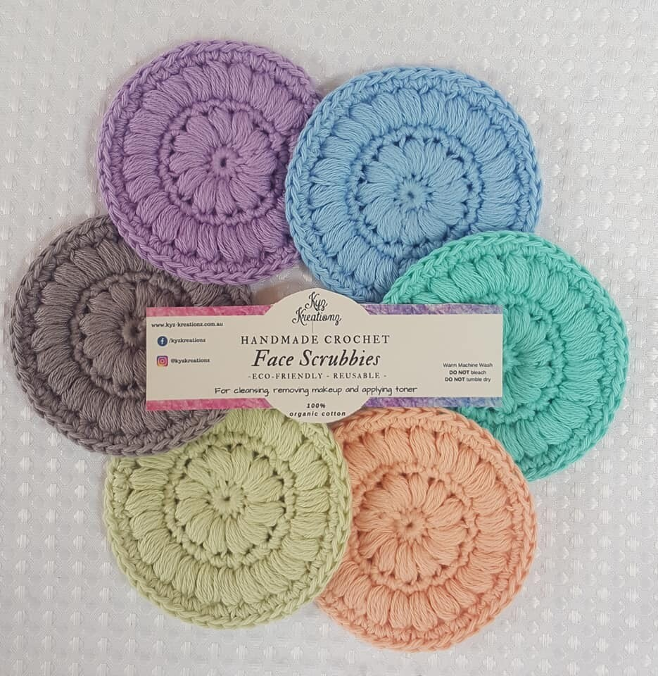 Crochet Face Scrubbies (pack of 6) - Lavender, Fresh Air, Bright Ocean, Peach Fuzz, Sweet Apple & Frosted Silver