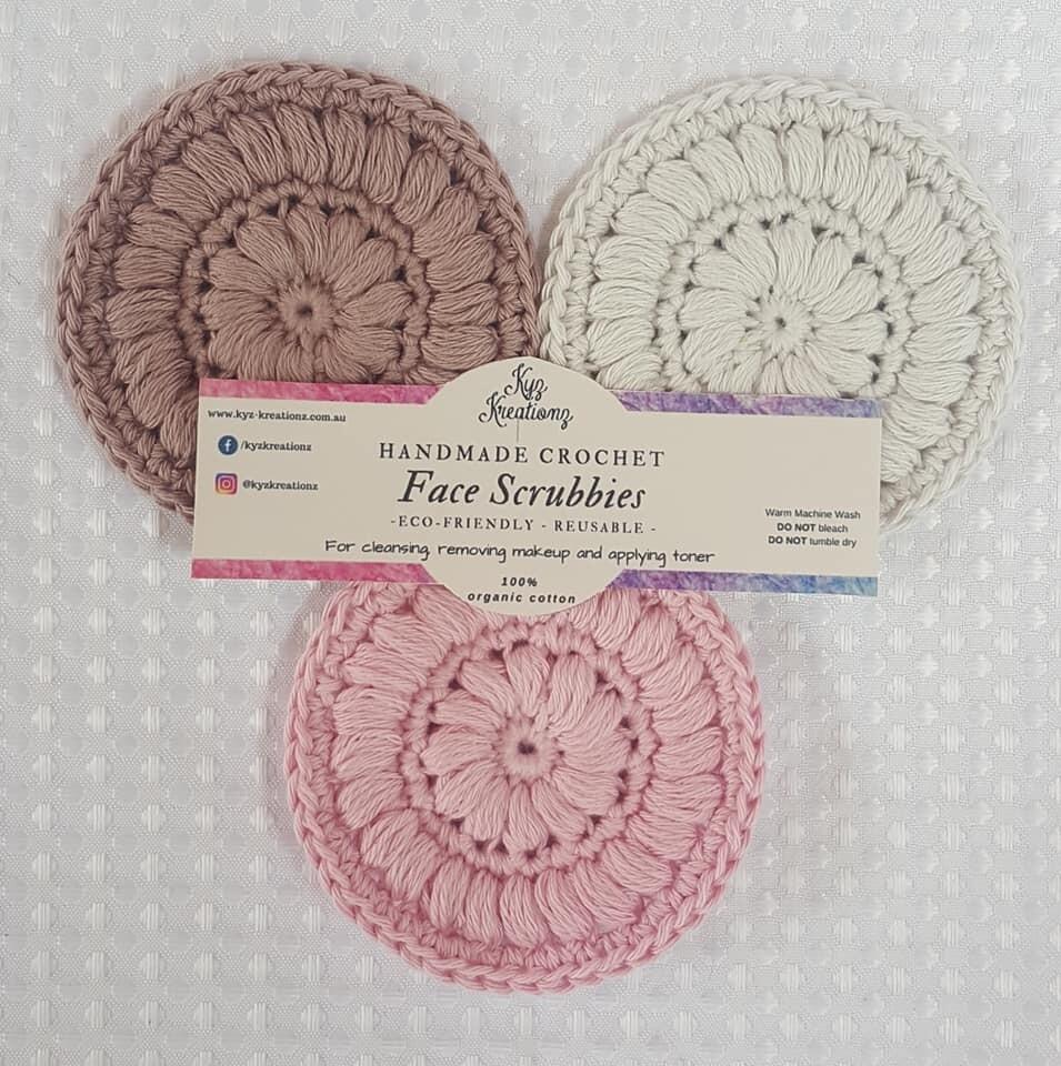 Crochet Face Scrubbies (pack of 3) - Neapolitan