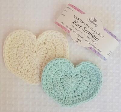 Heart Shaped Crochet Face Scrubbies - aqua