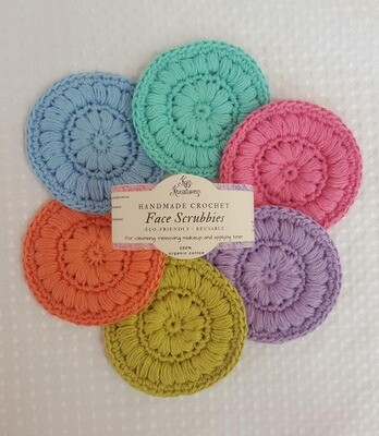 Crochet Face Scrubbies (pack of 6) - Apple Blossom, Sapling, Lavender, Desert Bloom, Bright Ocean & Fresh Air