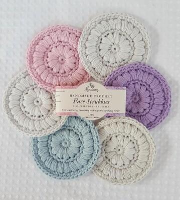 Crochet Face Scrubbies (pack of 6) - Soft Blossom, Soft Cloud, Soft Sky & Lavender