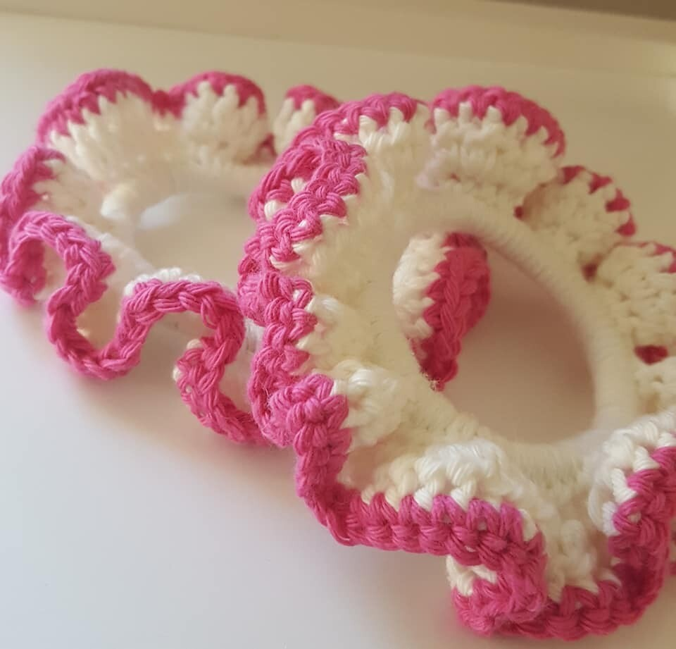 Crochet Hair Ties - Set of 2 - 100% Cotton (small)