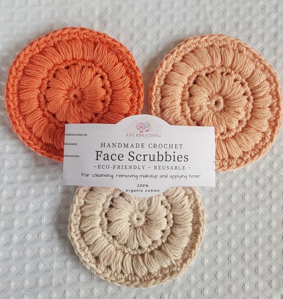 Crochet Face Scrubbies (pack of 3) - Orange Fizz