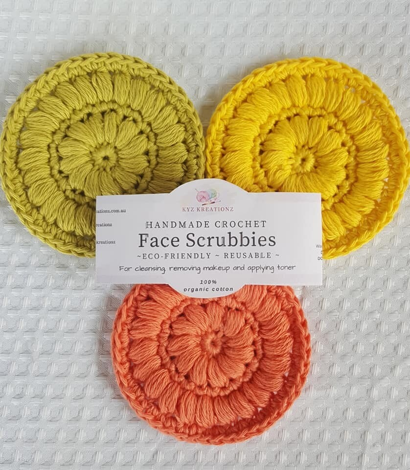 Crochet Face Scrubbies (pack of 3) - Desert Bloom, Gentle Primrose & Sapling