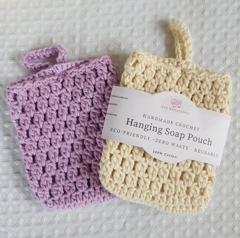 Crochet Hanging Soap Pouch (pack of 2) - Purple & Cream