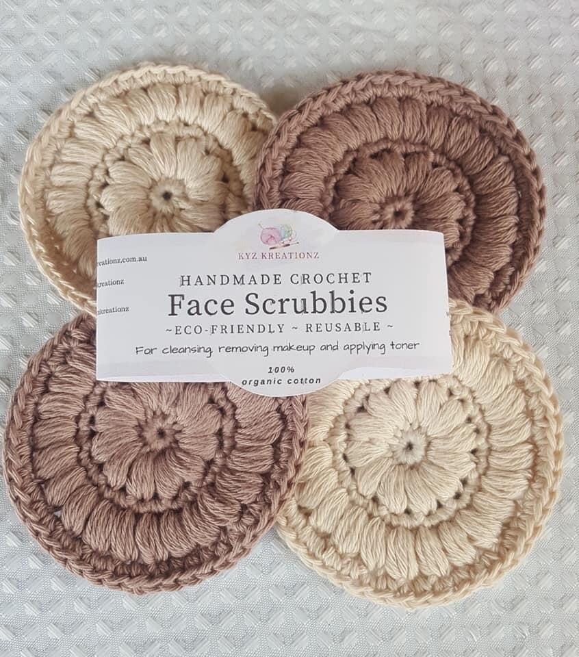 Crochet Face Scrubbies (pack of 4) -Café Latte