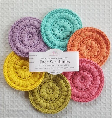 Crochet Face Scrubbies (pack of 6) - Apple Blossom, Sapling, Gentle Primrose, Lavender, Bright Ocean & Desert Bloom