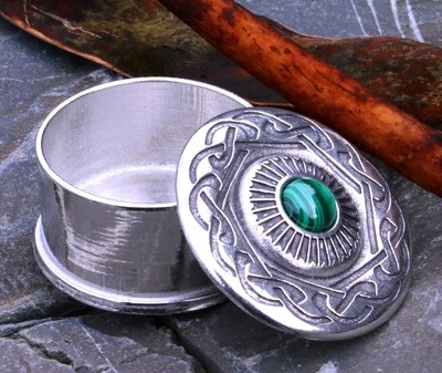 Pewter box with malachite