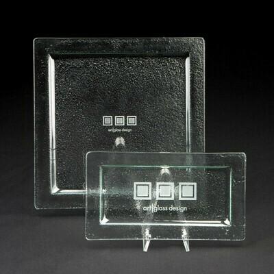 Square hand slab glass platter