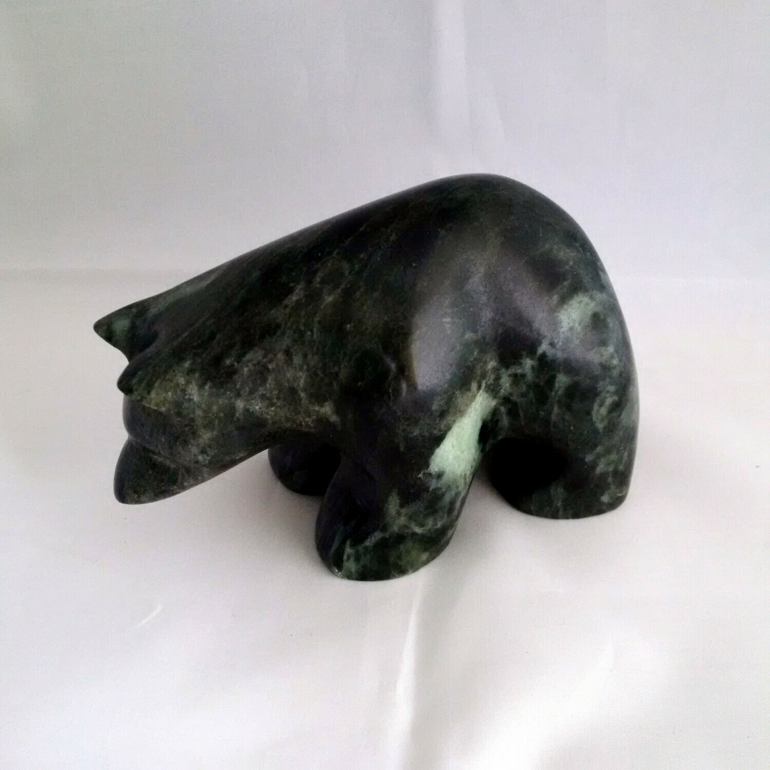 Bear Looking Down soapstone Sculpture