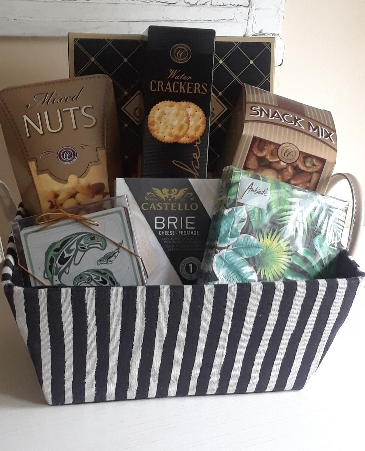 Striped basket with savory goodies