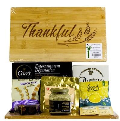 Snacks on Thankful cutting board