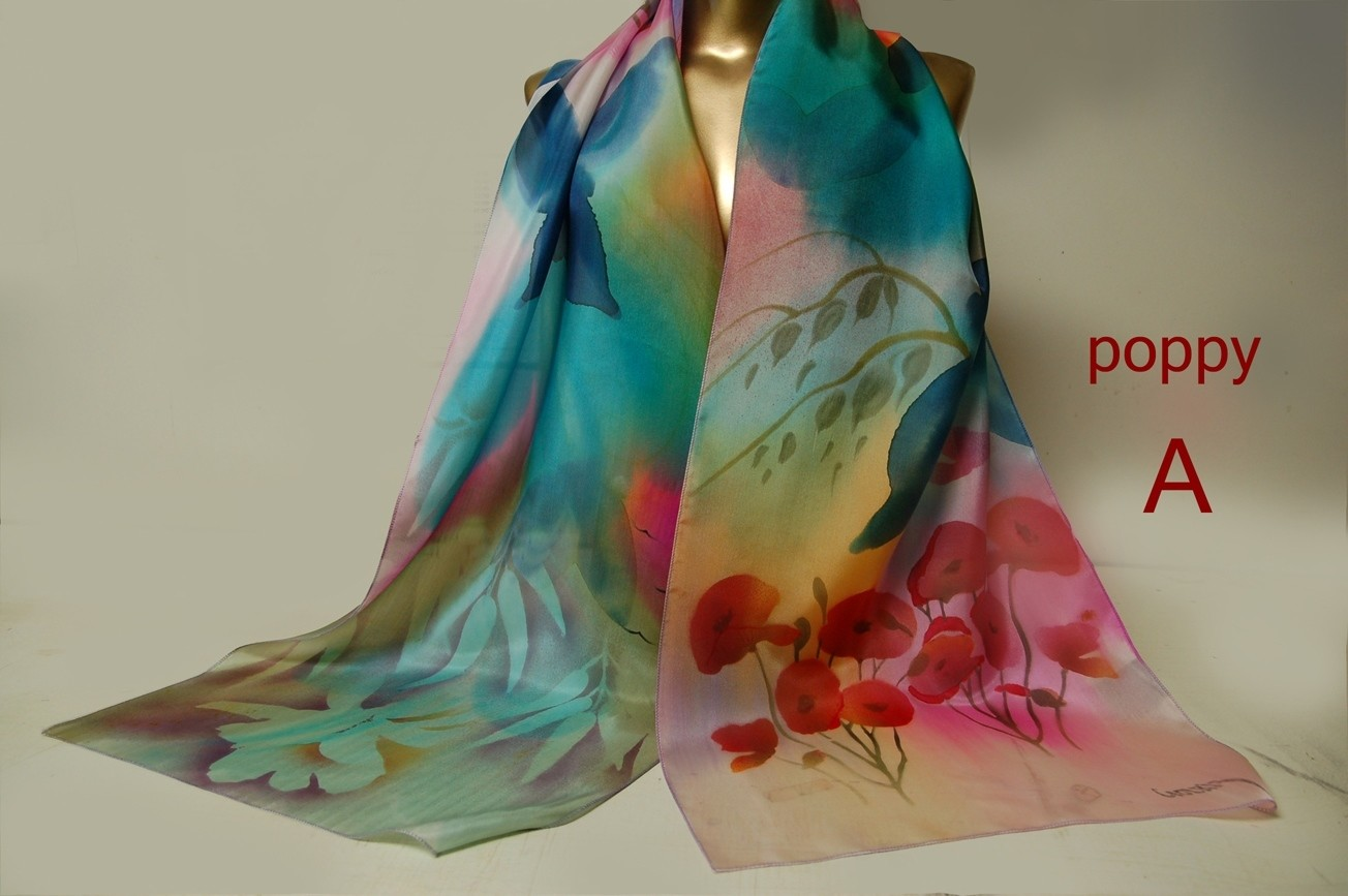 "Poppy hand painted silk scarf 9"" x 60"""