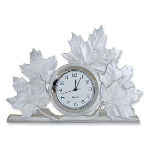 Pewter Maple Leaf Clock