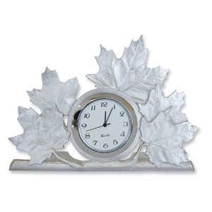 Pewter Maple Leaf Clock
