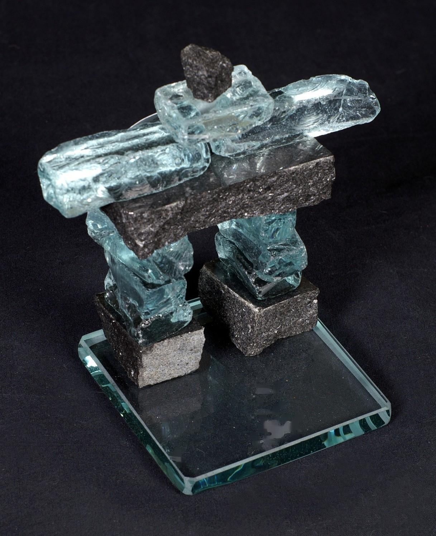 """Glass and granite stone Inukshuk 10"""""""