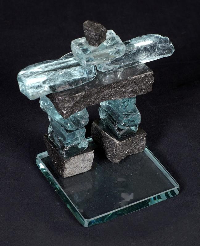 Glass and granite stone Inukshuk 10