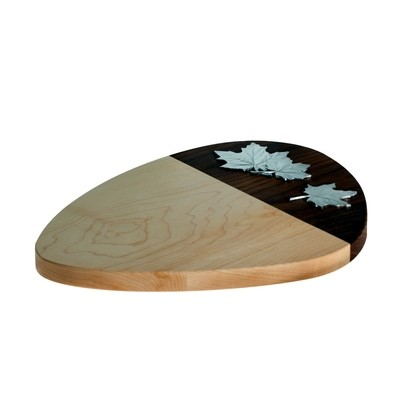 Maple Cheese board with pewter maple leaves