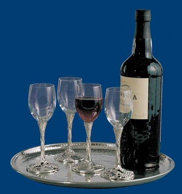 Pewter serving tray and wine glasses or port glasses