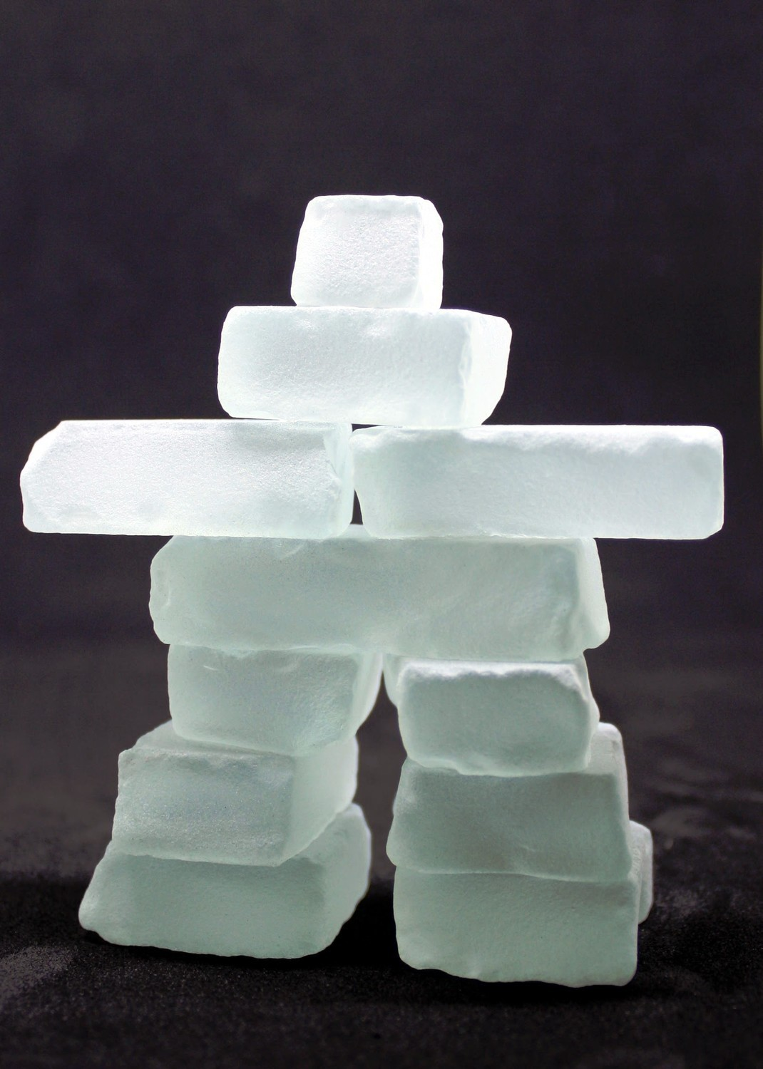 "Frosted glass 3"" Inukshuk"