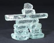 "Clear Glass 3"" Inukshuk"