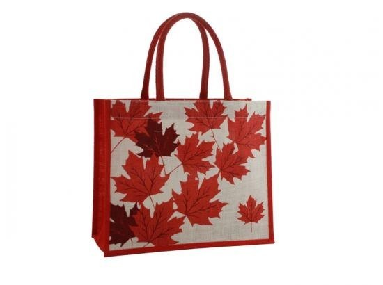 Jute bag with maple leaves