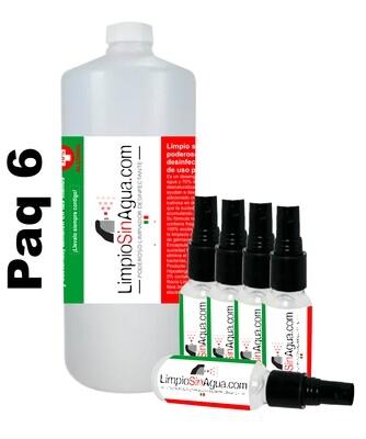 Limpio Sin Agua de uso personal | Paquete de 5 atomizadores de bolsillo con 30 ml c/u y 1 Litro refill