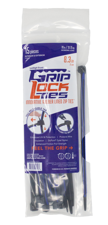 GripLockTies™ 8 inch 70 Pound UV Black and Blue bag of 15