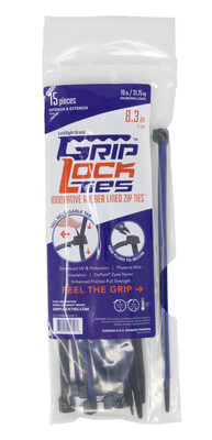 GripLockTies™ 8 inch 70 Pound UV Black and Blue bag of 15