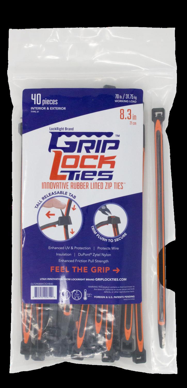 GripLockTies™ 8 inch 70 pound UV Black and Orange 40 bag