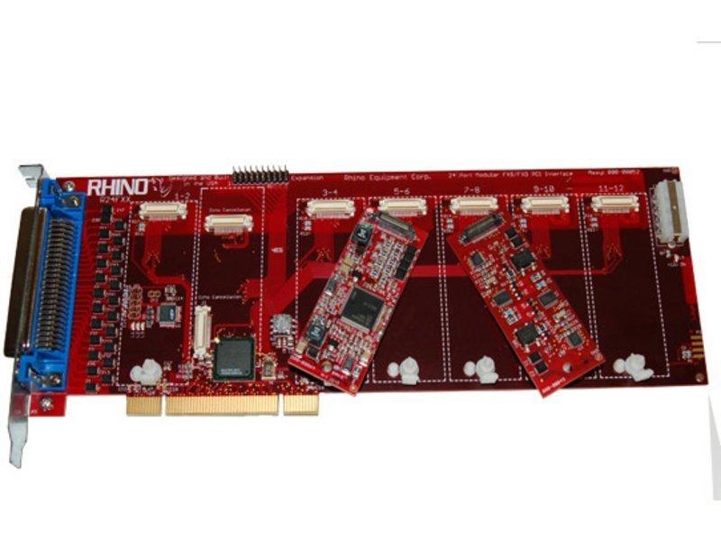 Rhino 24 Port Analog PCI Card - Base Board w/ Echo Cancellation