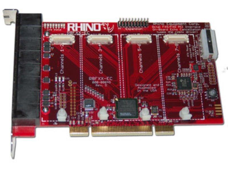 Rhino Octal Analog Card - Base Board w/ Echo Cancellation. PCIe