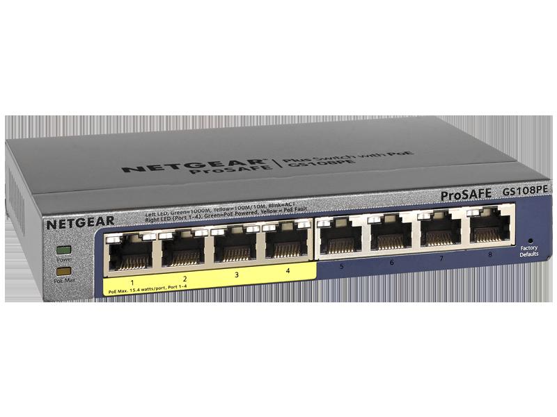 Netgear ProSafe Plus GS108PE 8-Port Gigabit Ethernet Switch