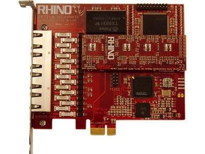 Rhino Quad T1/E1 PRI PCI Express Card w/ Echo Cancellation