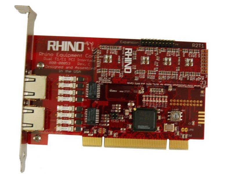 Rhino Dual T1/E1 PRI PCI Card w/ Echo Cancellation