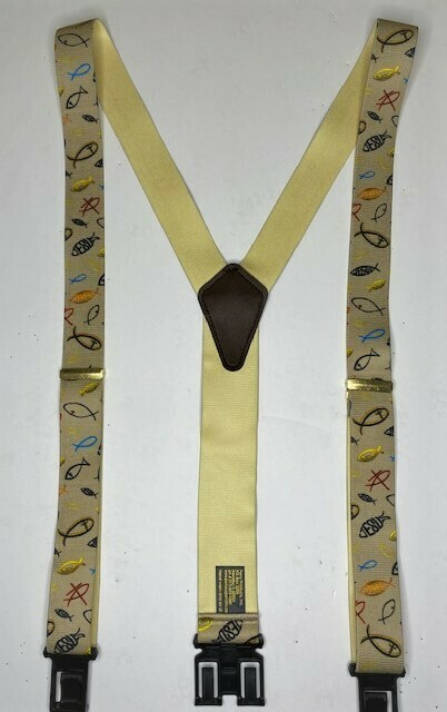 Novelty Perry Suspenders - Khaki Christian Fish